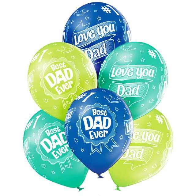 """Balony """"Best Dad Ever - dla taty"""", mix, Belbal, 12"""", 6 szt"""