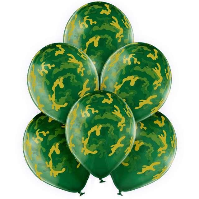 """Balony """"Wojskowe moro"""", zielony, BelBal, 12"""", 50 szt"""