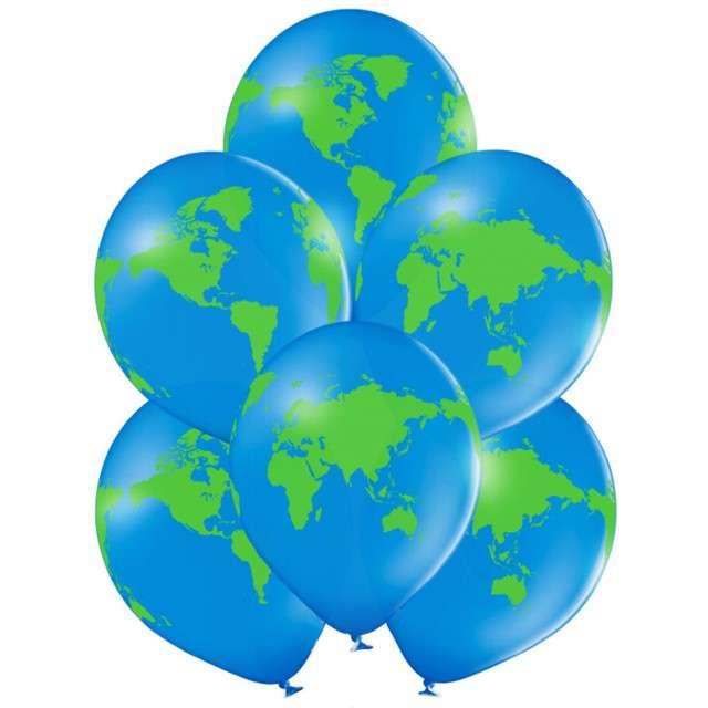"""Balony """"Kula ziemska"""", niebieskie, Belbal, 12"""", 6 szt"""