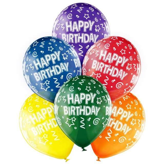 """Balony """"Happy Birthday"""", transparentny mix, Belbal, 12"""", 6 szt"""