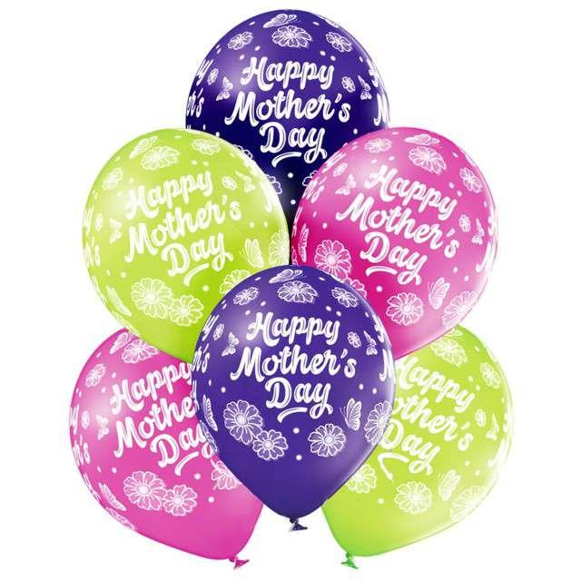 "Balony ""Happy Mothers Day - Dzień Matki"", mix, Belbal, 12"", 6 szt"
