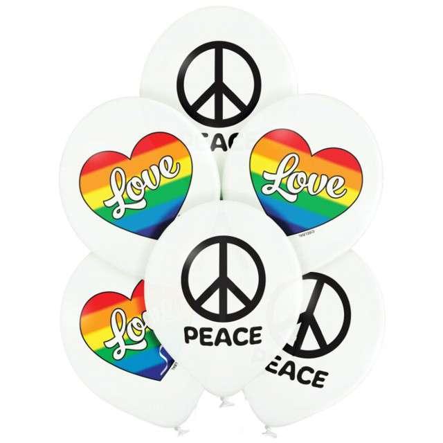 "Balony ""Love and Peace - pacyfka"", biały, Belbal, 12"", 6 szt"