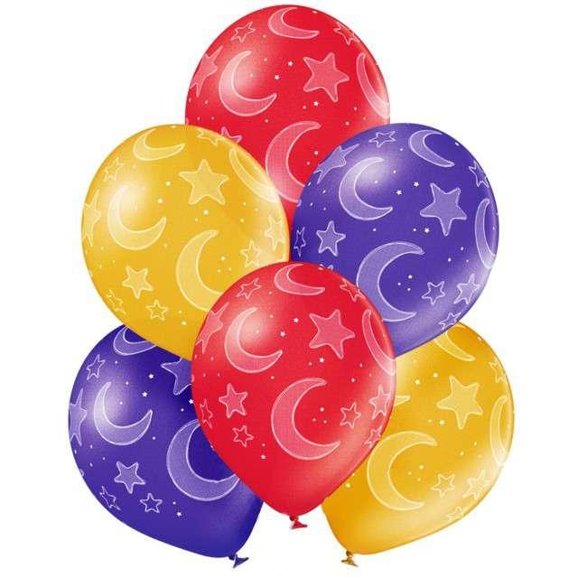 """Balony """"Księżyce i gwiazdy"""", mix, Belbal, 12"""", 6 szt"""