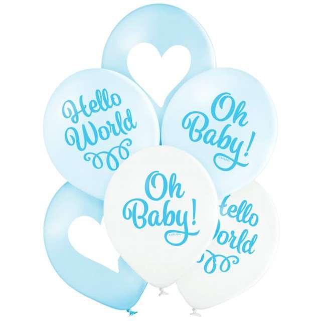 """Balony """"Oh Baby Boy - chłopiec"""", niebieskie, Belbal, 12"""", 6 szt"""