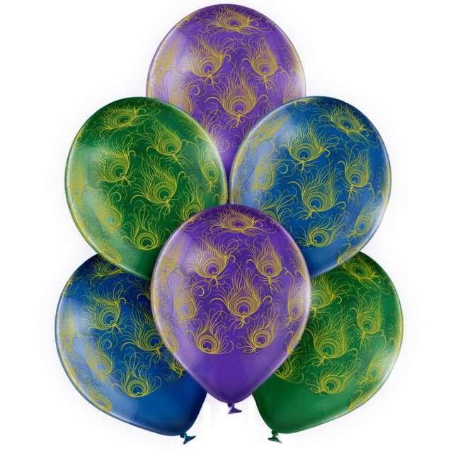 """Balony """"Pawie pióra"""", mix,  Belbal, 12"""", 6 szt"""