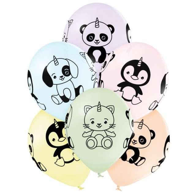 """Balony """"Zwierzątka jednorożce"""", mix, Belbal, 12 """", 6 szt"""