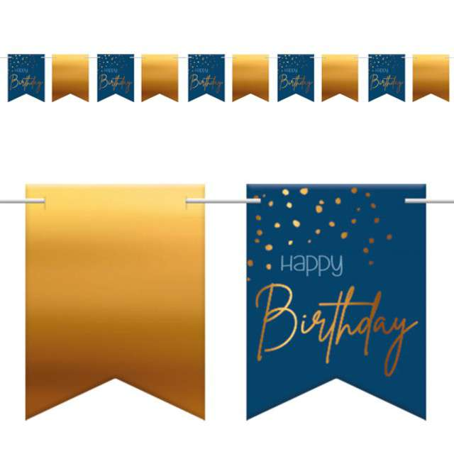 """Baner flagi """"Happy Birthday - Urodziny"""", niebiesko-złoty, Folat, 600 cm"""