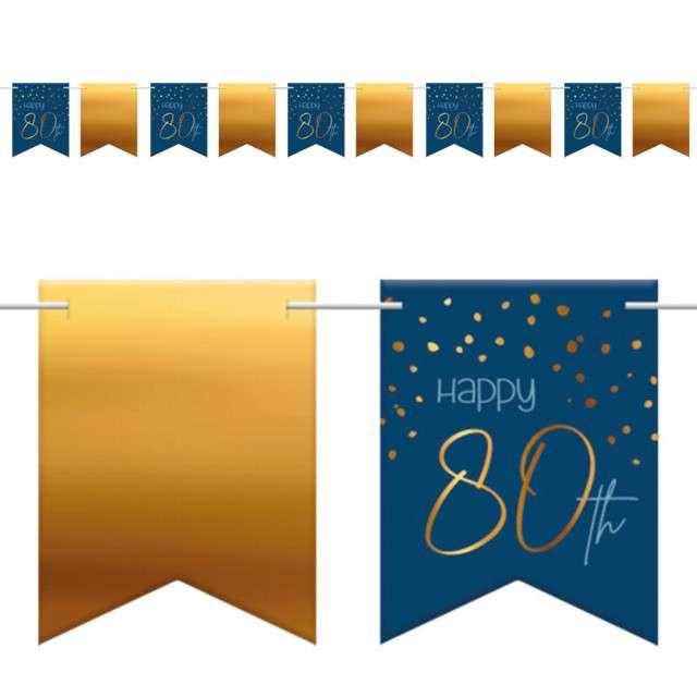 """Baner flagi """"Happy 80th - Urodziny"""", niebiesko-złoty, Folat, 600 cm"""