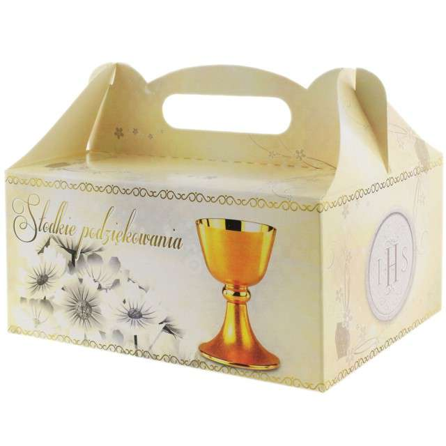 """Pudełko na ciasto """"Komunia IHS - Słodkie Podziękowanie"""", białe, 10 szt"""