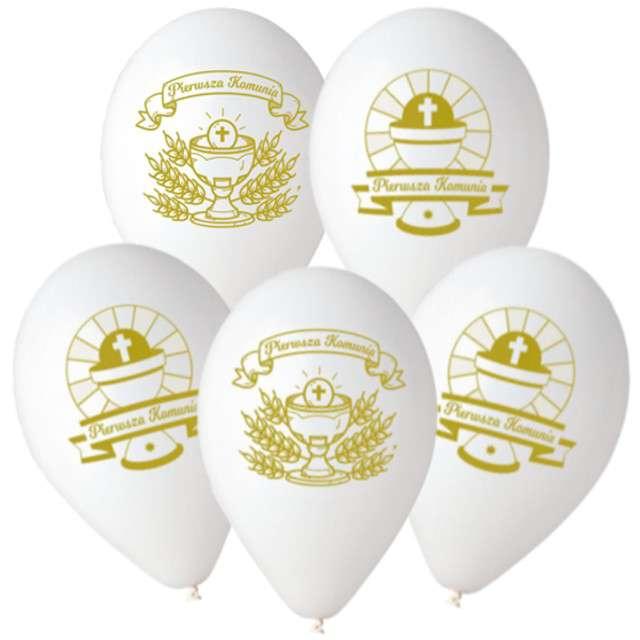 """Balony """"Pierwsza Komunia Święta"""", białe, Gemar, 12"""", 5 szt"""