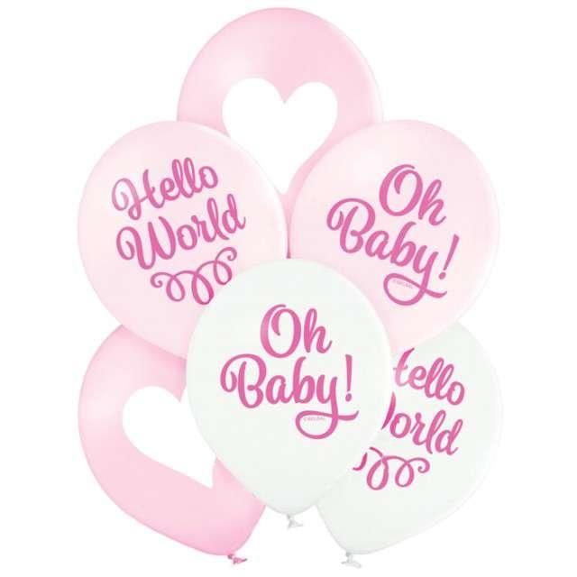 "Balony ""Oh Baby"", różowe, Belbal, 12"", 6 szt"