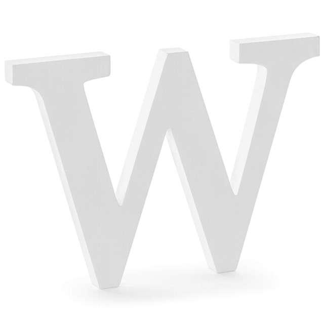 """Litera drewniana """"W"""", biała, Partydeco"""