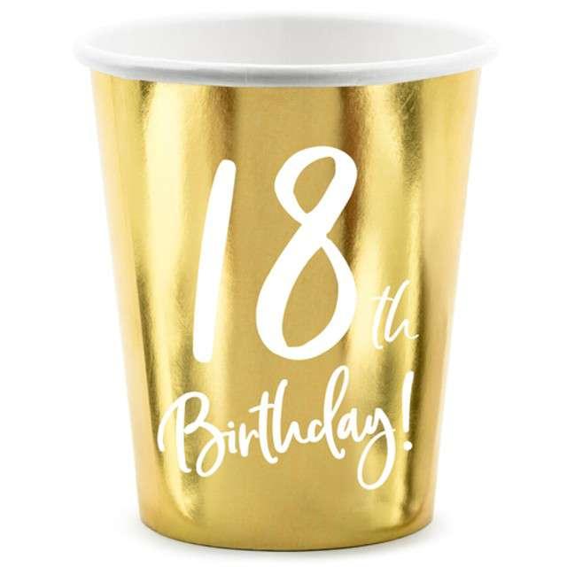 """Kubeczki """"18 urodziny - Gold"""", Partydeco, 220 ml, 6 szt"""