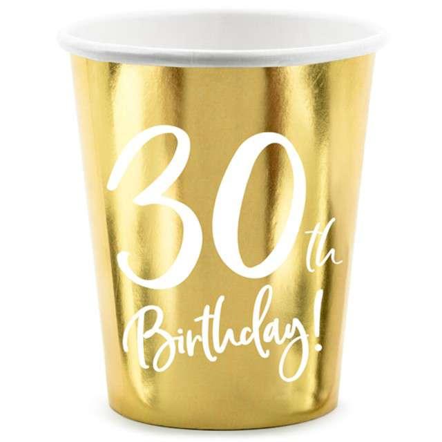 """Kubeczki """"30 urodziny - Gold"""", Partydeco, 220 ml, 6 szt"""