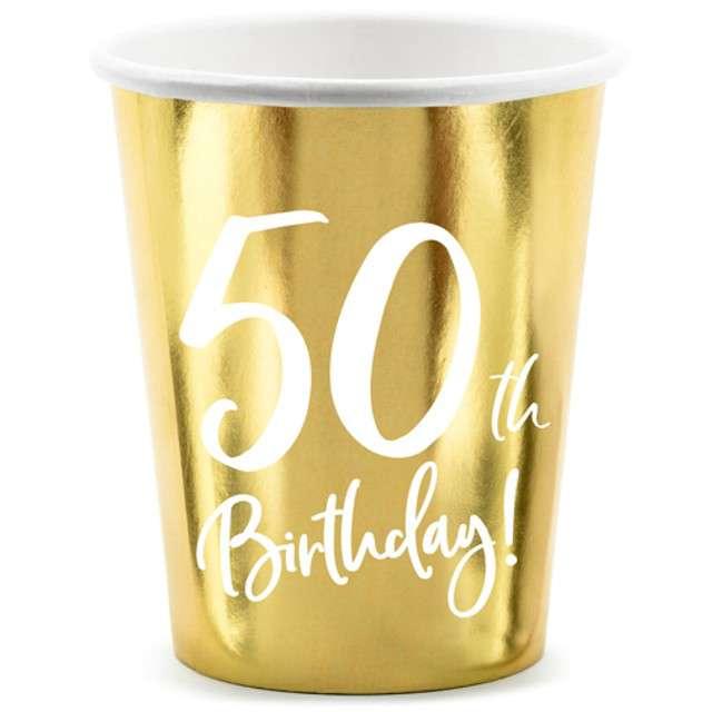 """Kubeczki """"50 urodziny - Gold"""", Partydeco, 220 ml, 6 szt"""