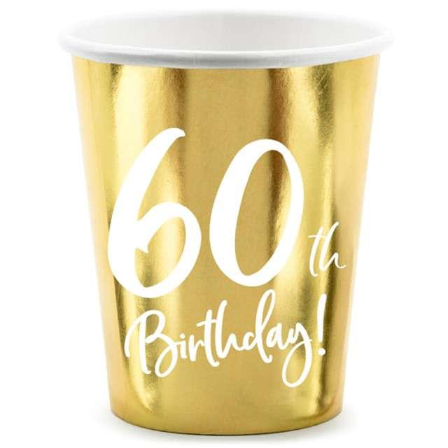 """Kubeczki """"60 urodziny - Gold"""", Partydeco, 220 ml, 6 szt"""