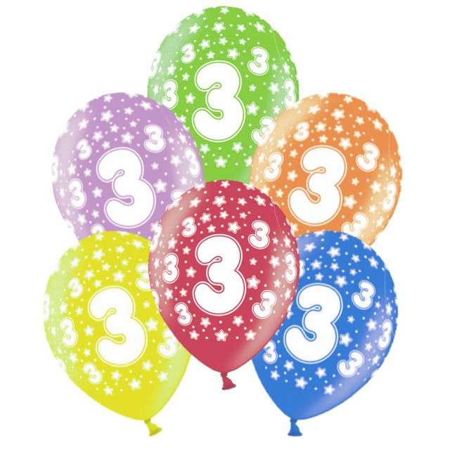 """Balony 14"""", """"Liczba  3"""", STRONG, metallic mix, 6 szt"""