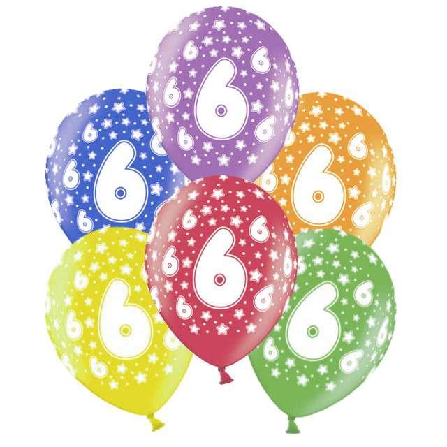 """Balony 14"""", """"Liczba  6"""", STRONG, metallic mix, 6 szt"""