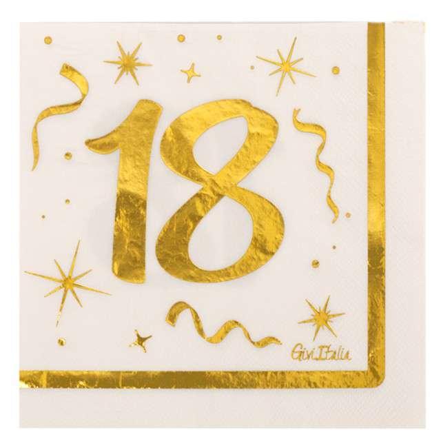 """Serwetki tłoczone """"18 urodziny"""", Givi, 33 cm, 16 szt."""