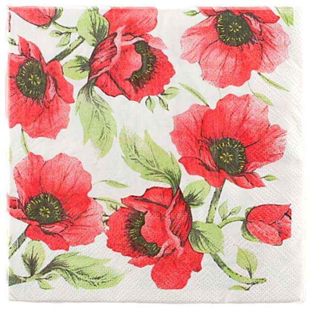 Serwetki Czerwone kwiatki 33cm Givi 20szt.