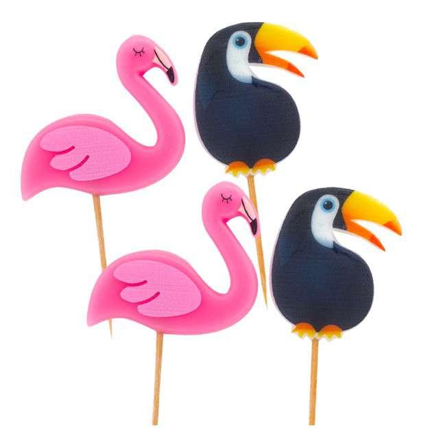 """Świeczki na tort """"Flamingi i tukany"""", Givi, 4 szt."""