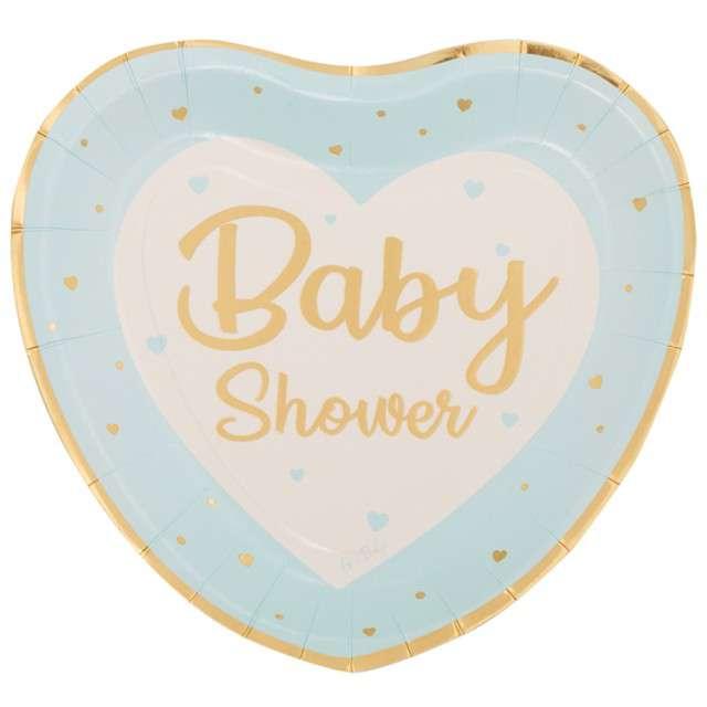 """Talerzyki papierowe """"Baby shower boy"""", serce, Givi, 8 szt."""