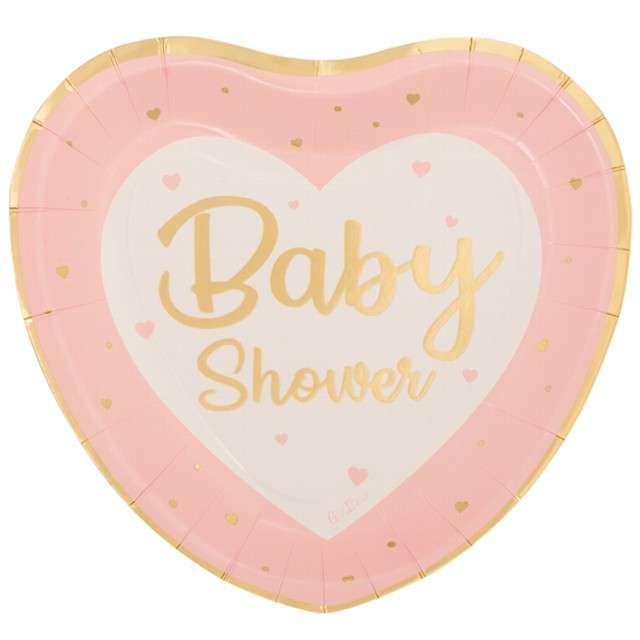 """Talerzyki papierowe """"Baby shower girl"""", serce, Givi, 8 szt."""