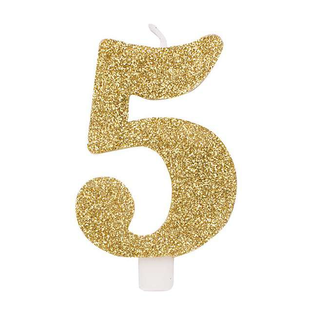 """Świeczka na tort """"Cyfra 5"""", złota brokatowa, Givi, 9,5 cm"""