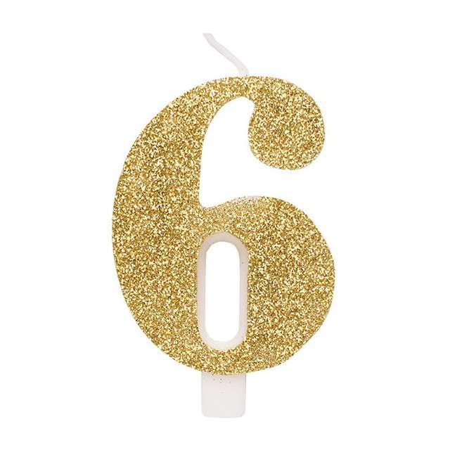 """Świeczka na tort """"Cyfra 6"""", złota brokatowa, Givi, 9,5 cm"""