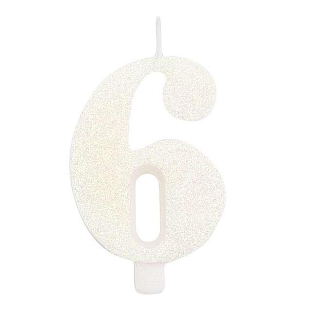 """Świeczka na tort """"Cyfra 6"""", biała brokatowa, Givi, 9,5 cm"""