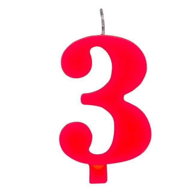 """Świeczka na tort """"Cyfra 3 iskrząca"""", czerwona, Givi, 9,5 cm"""