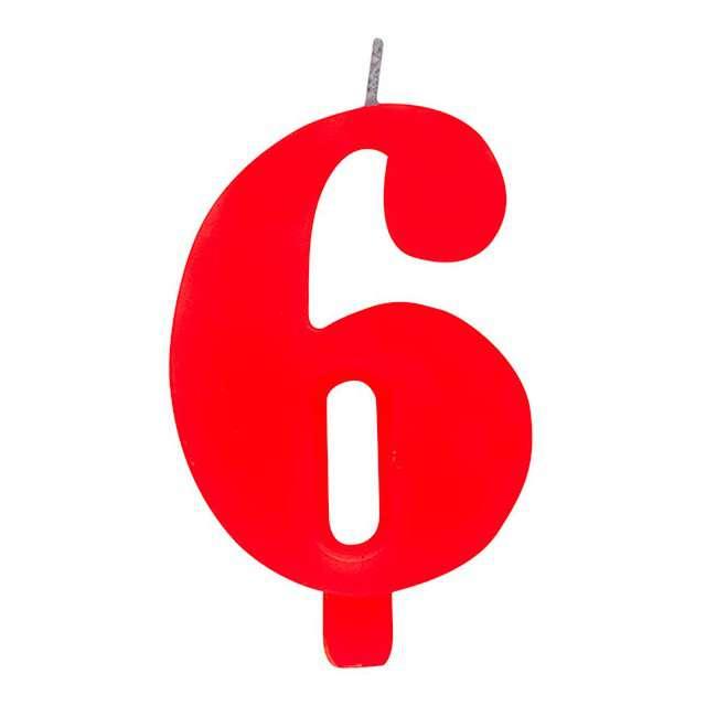 """Świeczka na tort """"Cyfra 6 iskrząca"""", czerwona, Givi, 9,5 cm"""