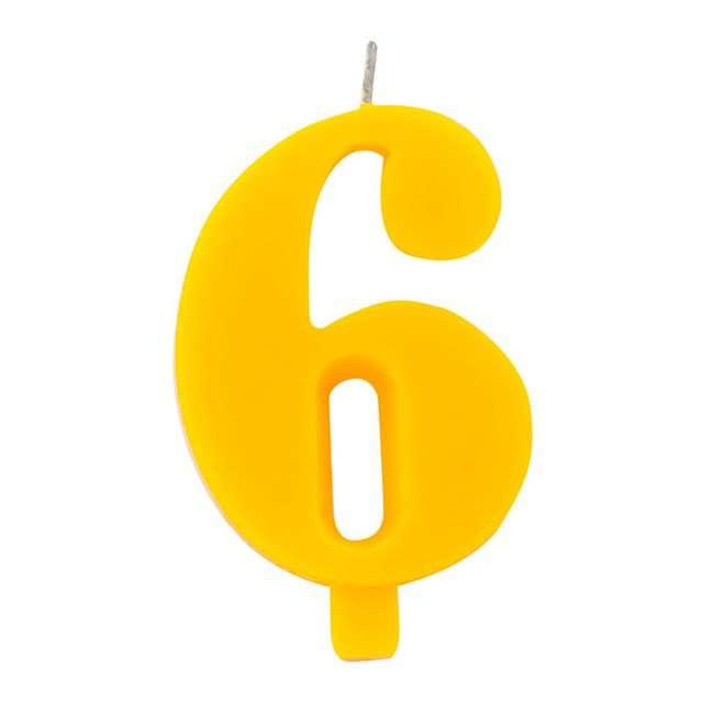 """Świeczka na tort """"Cyfra 6 iskrząca"""", żółta, Givi, 9,5 cm"""