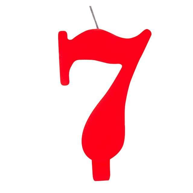 """Świeczka na tort """"Cyfra 7 iskrząca"""", czerwona, Givi, 9,5 cm"""