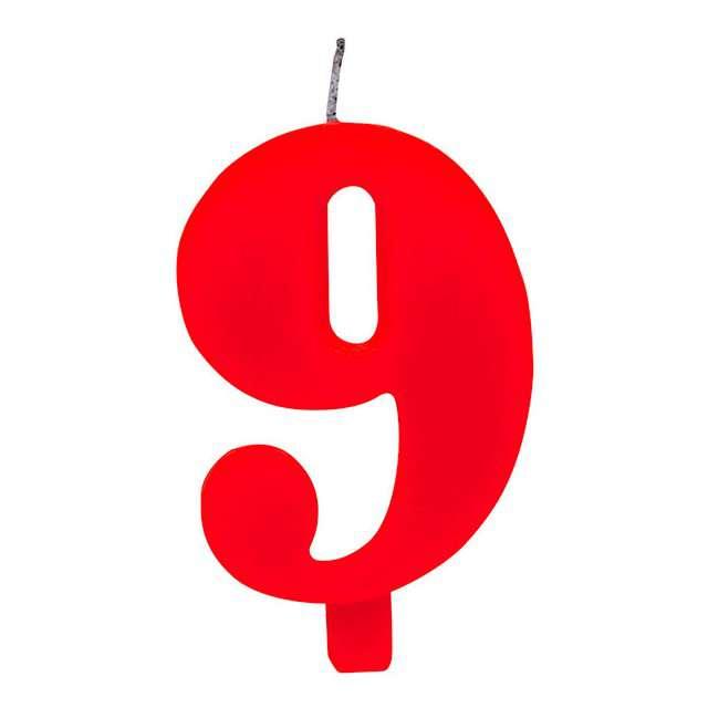 """Świeczka na tort """"Cyfra 9 iskrząca"""", czerwona, Givi, 9,5 cm"""
