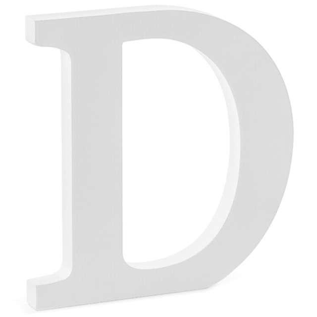 """Litera drewniana """"D"""", biała, Partydeco"""