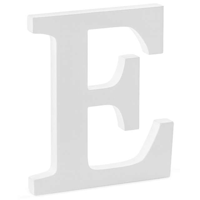 """Litera drewniana """"E"""", biała, Partydeco"""