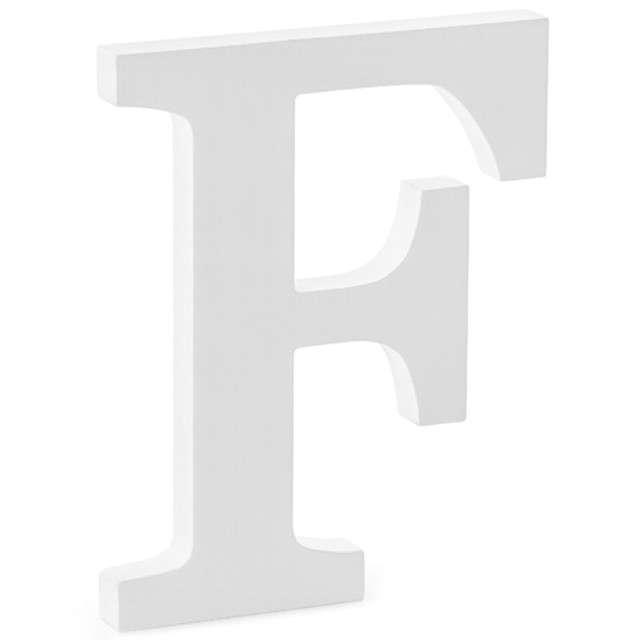 """Litera drewniana """"F"""", biała, Partydeco"""