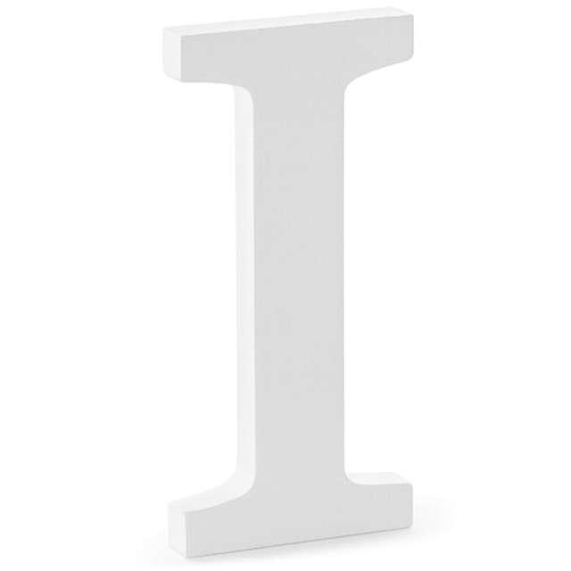 """Litera drewniana """"I"""", biała, Partydeco"""