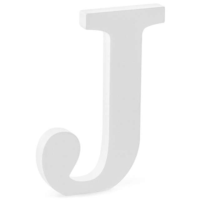 """Litera drewniana """"J"""", biała, Partydeco"""