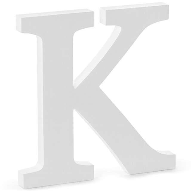 """Litera drewniana """"K"""", biała, Partydeco"""