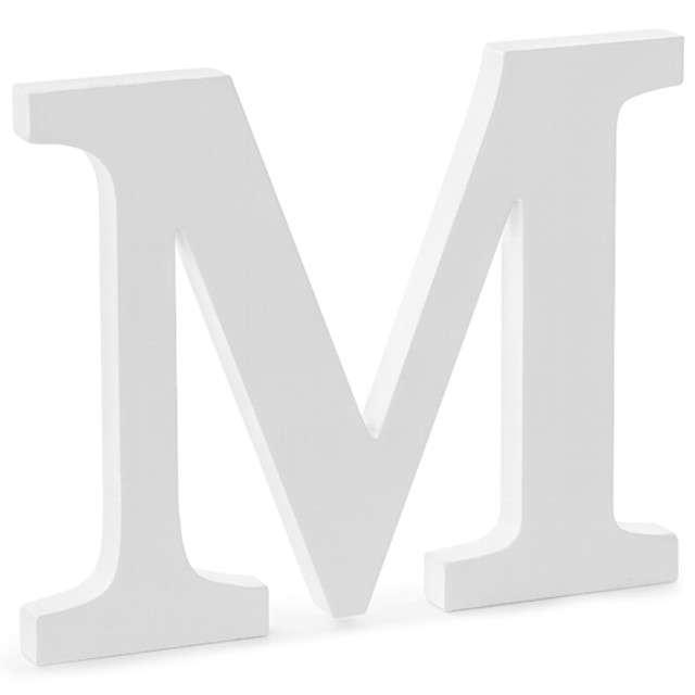 """Litera drewniana """"M"""", biała, Partydeco"""