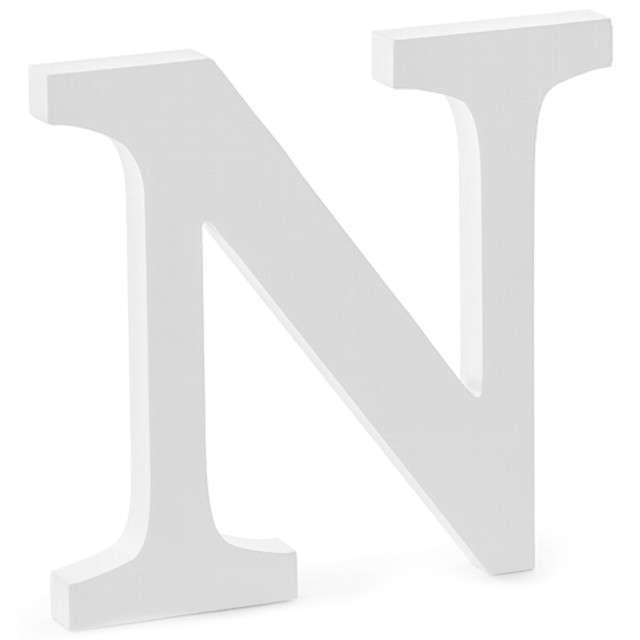 """Litera drewniana """"N"""", biała, Partydeco"""