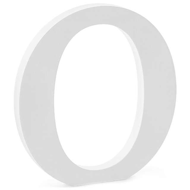 """Litera drewniana """"O"""", biała, Partydeco"""