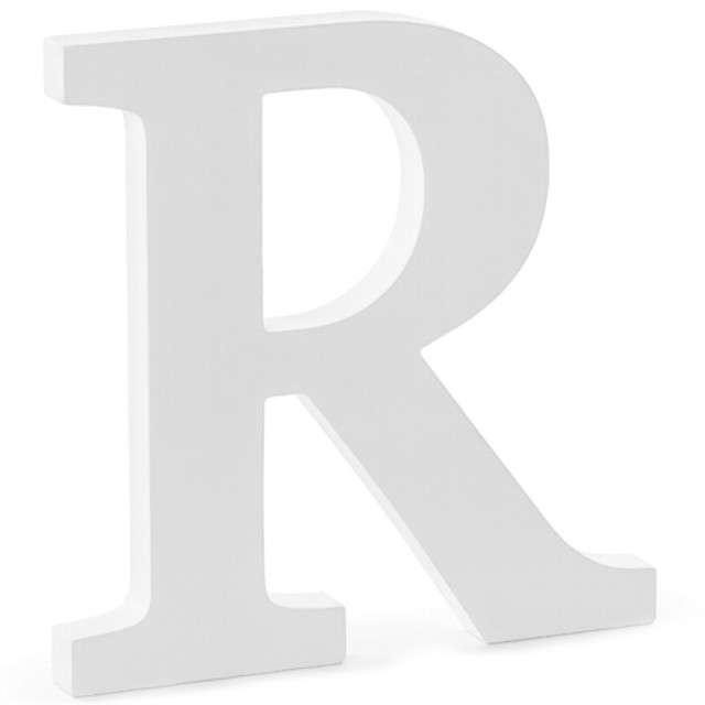 """Litera drewniana """"R"""", biała, Partydeco"""