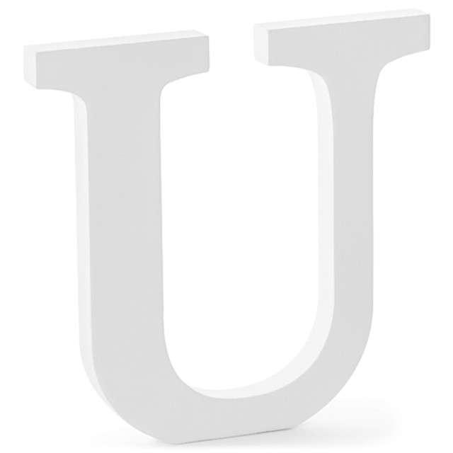 """Litera drewniana """"U"""", biała, Partydeco"""