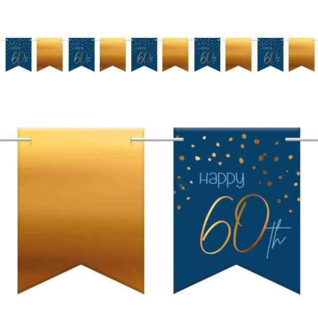 """Baner flagi """"Happy 60th - Urodziny"""", niebiesko-złoty, Folat, 600 cm"""