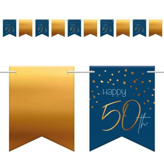 """Baner flagi """"Happy 50th - Urodziny"""", niebiesko-złoty, Folat, 600 cm"""