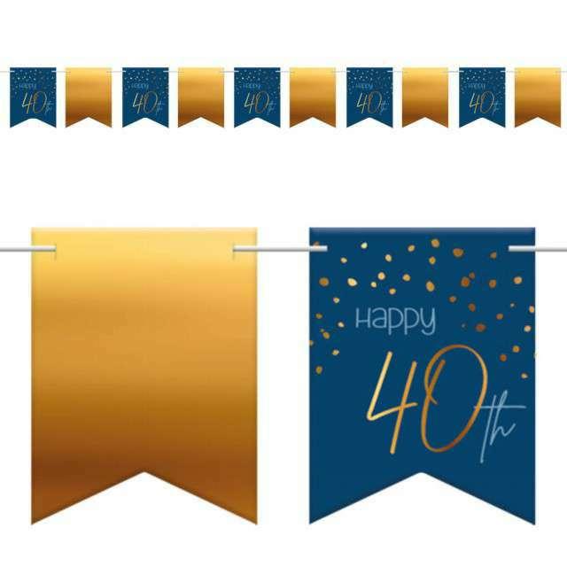 """Baner flagi """"Happy 40th - Urodziny"""", niebiesko-złoty, Folat, 600 cm"""