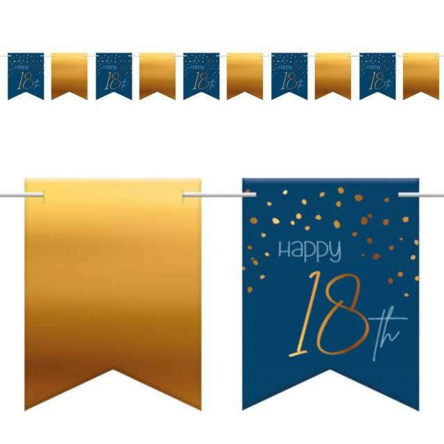 """Baner flagi """"Happy 18th - Urodziny"""", niebiesko-złoty, Folat, 600 cm"""